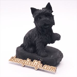 "Statuette ""Dog"" on tile. Shungite Statuettes."